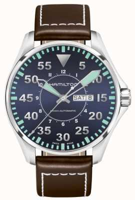Hamilton Khaki aviation pilot cuir cuir automatique H64715545