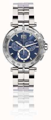 Michel Herbelin Chronographe Newport hommes bracelet en acier inoxydable cadran bleu 36696/B35