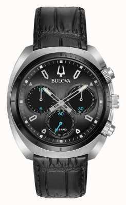 Bulova | curv | hommes | chronographe | bracelet en cuir noir | 98A155
