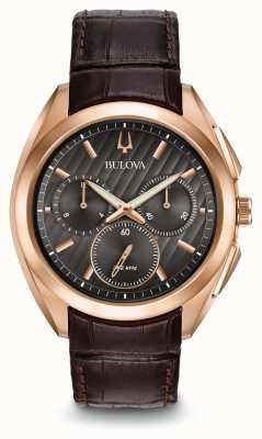 Bulova Bracelet en cuir brun chronographe Mens Curv 97A124
