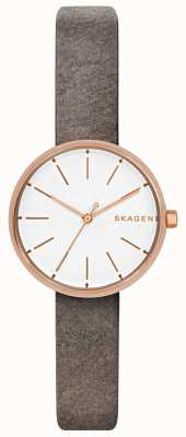 Skagen Womens signatur rose or avec bracelet en cuir gris SKW2644