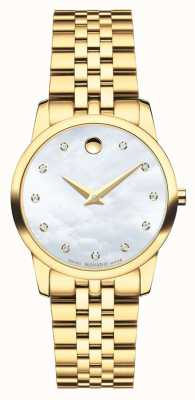 Movado Montre en or doré au diamant Womans Museum 0606998