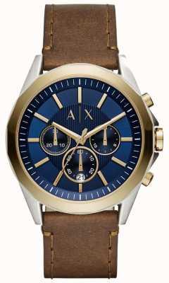 Armani Exchange Bracelet en cuir brun chronographe homme bleu AX2612