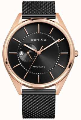 Bering Bracelet automatique en acier noir millanais pour hommes 16243-166