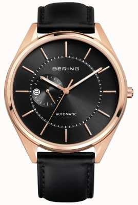 Bering Bracelet en cuir noir automatique pour homme 16243-462
