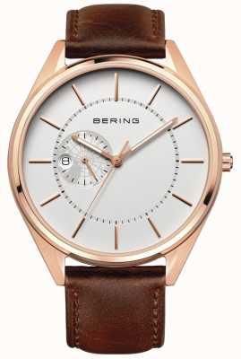 Bering Bracelet en cuir marron automatique pour homme 16243-564