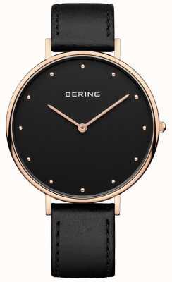 Bering Montre classique en cuir noir femme Womans 14839-462