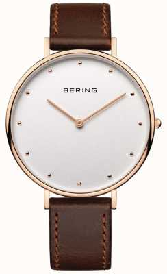 Bering Montre bracelet en cuir marron classique Womans 14839-564