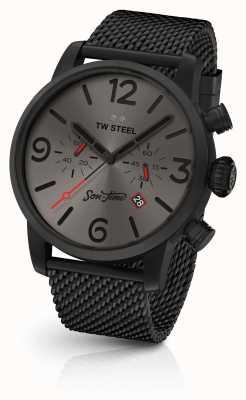 TW Steel Mens fils de temps aeon 48mm chrono maille noire et cuir MST4