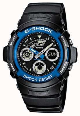 Casio Hommes g-shock alarme chrono bracelet en caoutchouc bleu AW-591-2AER