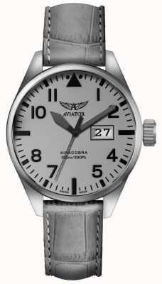 Aviator Mens airacobra p42 bracelet en cuir gris cadran gris V.1.22.0.150.4