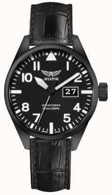 Aviator Mens airacobra p42 bracelet en cuir noir cadran noir V.1.22.5.148.4