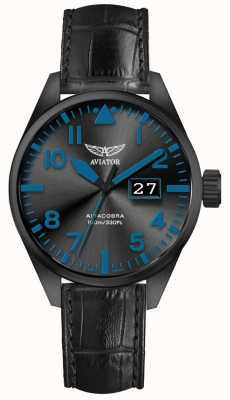 Aviator Mens airacobra p42 bracelet en cuir noir cadran noir V.1.22.5.188.4