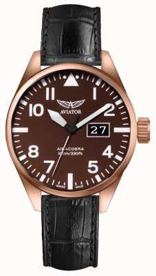 Aviator Mens airacobra p42 bracelet en cuir noir cadran brun V.1.22.2.151.4