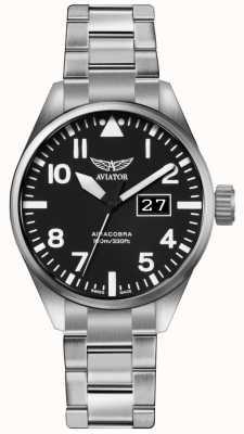 Aviator Bracelet en acier inoxydable airacobra p42 pour homme cadran noir V.1.22.0.148.5