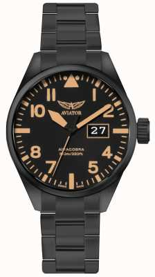 Aviator Mens airacobra p42 noir pvd plaqué bracelet cadran noir V.1.22.5.157.5
