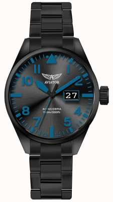 Aviator Mens airacobra p42 noir pvd plaqué bracelet cadran noir V.1.22.5.188.5