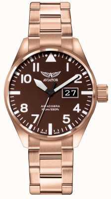 Aviator Mens airacobra p42 marron pvd plaqué bracelet marron cadran V.1.22.2.151.5