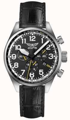 Aviator Mens airacobra p45 chrono bracelet en cuir noir cadran noir V.2.25.0.169.4