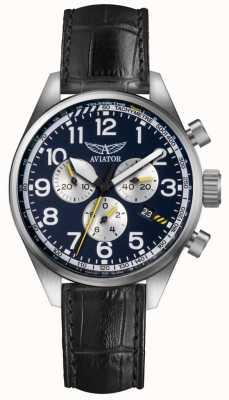 Aviator Mens airacobra p45 chrono bracelet en cuir noir cadran bleu V.2.25.0.170.4