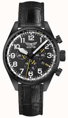 Aviator Mens airacobra p45 chrono bracelet en cuir noir cadran noir V.2.25.5.169.4