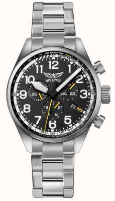 Aviator Mens airacobra p45 chrono bracelet en acier inoxydable noir dia V.2.25.0.169.5