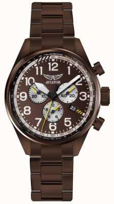 Aviator Mens airacobra p45 chrono bronze pvd bracelet marron cadran V.2.25.8.172.5