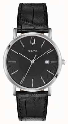 Bulova Cuir noir classique pour hommes 96B283
