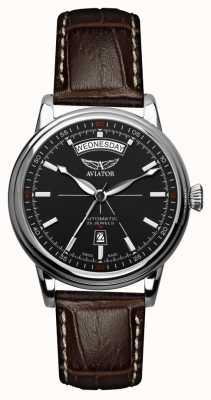 Aviator Bracelet en cuir marron pour homme douglas noir V.3.20.0.142.4