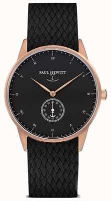 Paul Hewitt Bracelet tressé en cuir noir signature unisexe PH-M1-R-B-21M