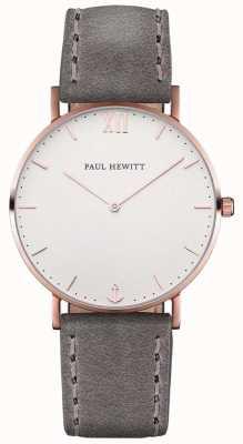 Paul Hewitt Bracelet en cuir gris marron unisexe PH-SA-R-ST-W-13M