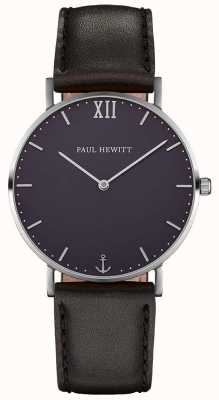 Paul Hewitt Braguotte en cuir noir marin simple PH-SA-S-SM-B-2M