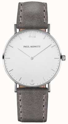 Paul Hewitt Bracelet en cuir gris marron unisexe PH-SA-S-ST-W-13M