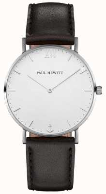 Paul Hewitt Braguotte en cuir noir marin simple PH-SA-S-SM-W-2M