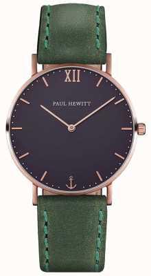 Paul Hewitt Braguotte de cuir vert marron unisexe PH-SA-R-ST-B-12M