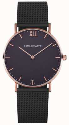 Paul Hewitt Bracelet en maille noire simple marin PH-SA-R-ST-B-5M