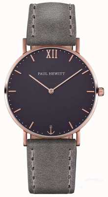 Paul Hewitt Bracelet en cuir gris marron unisexe PH-SA-R-ST-B-13M
