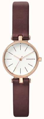 Skagen Womens signatur cuir marron petit watch SKW2641