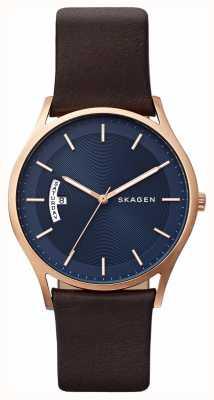 Skagen Montre en cuir marron en cuir bleu SKW6395