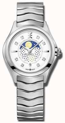 EBEL Montre en acier inoxydable Phase de lune sertie de diamants pour femmes 1216372