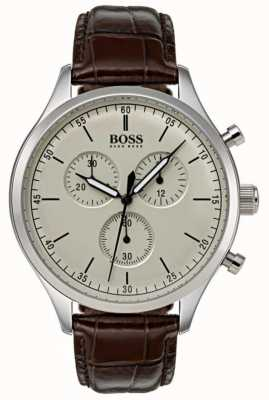 Hugo Boss Bracelet chronographe pour homme marron en cuir marron 1513544