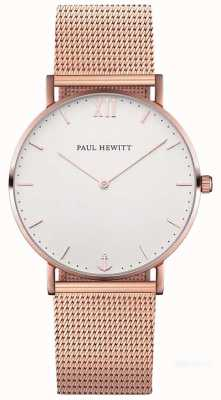 Paul Hewitt Unisexe sailor 39mm rose bracelet en maille d'or PH-SA-R-ST-W-4M