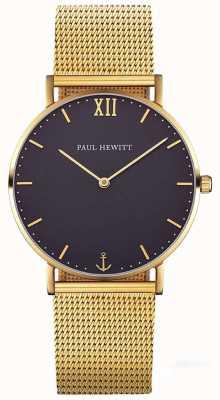 Paul Hewitt Ligne de marin unisexe 39mm bracelet en maille d'or PH-SA-G-ST-B-4M