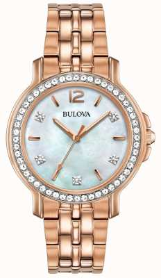 Bulova Womans rose montre en cristal de ton or 98L243