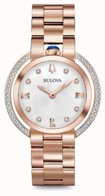 Bulova Womans rubaiyat rose gold tone diamond watch 98R248
