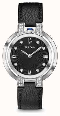 Bulova Ensemble diamant en cuir noir rubaiyat pour femme 96R217