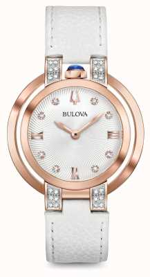 Bulova Ensemble diamant en cuir blanc rubaiyat pour femme 98R243