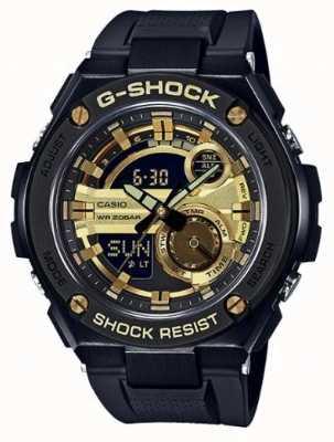 Casio G-acier noir et or caoutchouc caoutchouc mens g-shock GST-210B-1A9ER