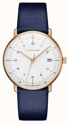 Junghans Max bill dames quartz | bracelet en cuir bleu | 047/7851.00