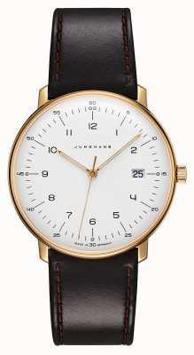 Junghans Max bill quartz | bracelet en cuir noir | boîtier plaqué or 041/7872.04